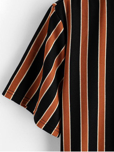 ZAFUL Farbblock Kurzärmliges T-Shirt mit Streifenmuster - Tiger Orange M Mobile