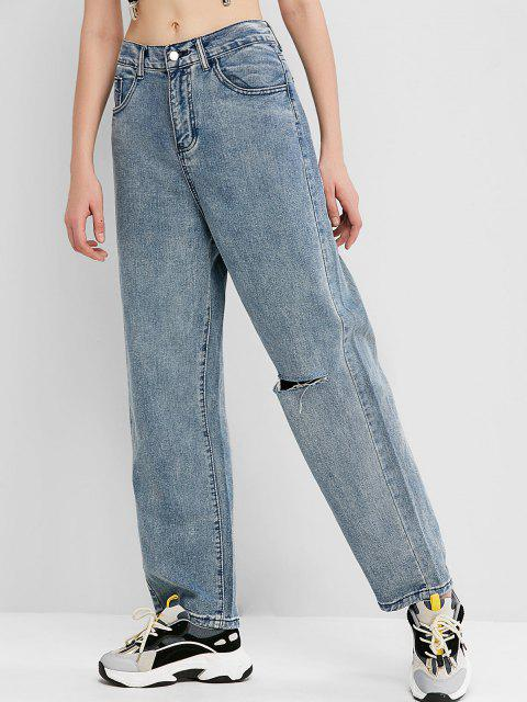 new Knee Ripped High Waisted Wide Leg Jeans - JEANS BLUE M Mobile