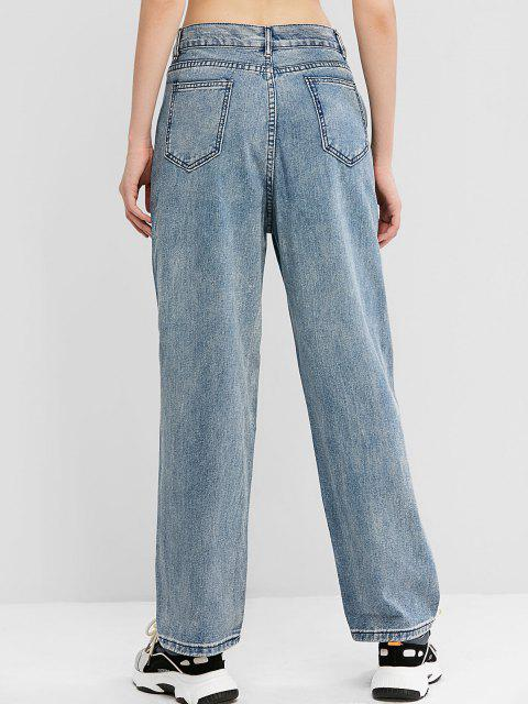 hot Knee Ripped High Waisted Wide Leg Jeans - JEANS BLUE L Mobile