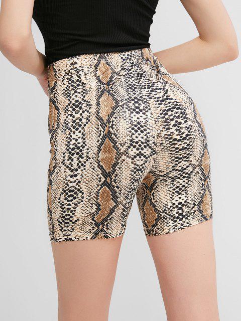 hot ZAFUL High Waisted Snakeskin Print Biker Shorts - MULTI-A S Mobile