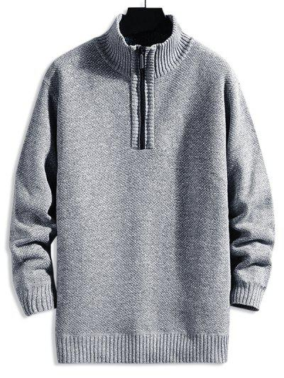 Solid Color Quarter Zip Casual Sweater - Gray Cloud S