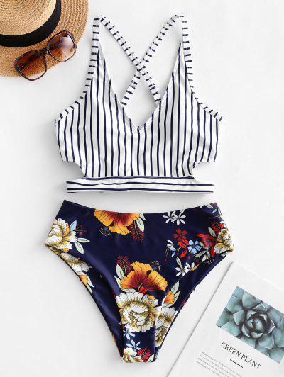 ZAFUL Crisscross Knot Floral Striped Tankini Swimsuit - Denim Dark Blue M