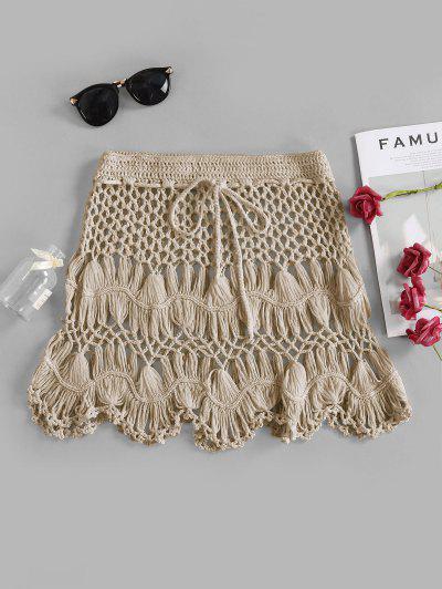 Scalloped Edge Crochet Skirt - Light Khaki S