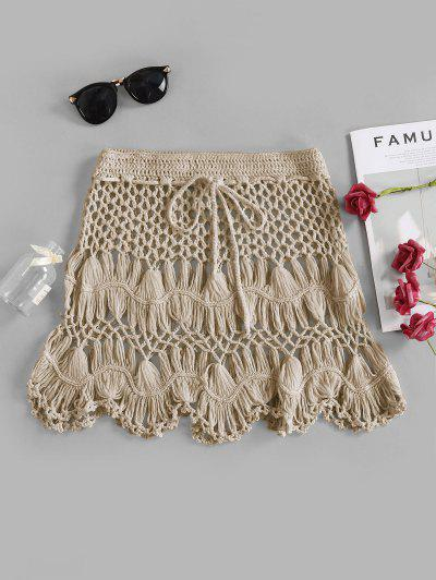 Scalloped Edge Crochet Skirt - Light Khaki M