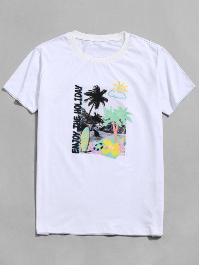 Palme Baum Frucht Kurzarm Urlaub T-Shirt - Weiß 2xl