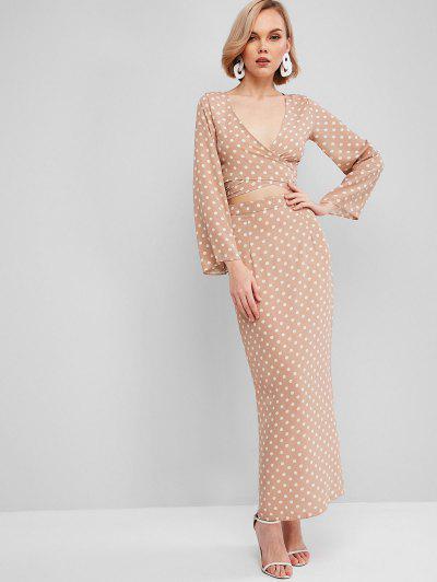 Wrap Polka Dot Slit Two Piece Dress - Khaki M