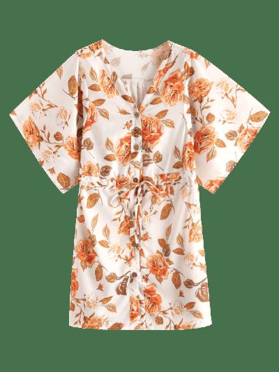 Drawstring Waist Floral Button Up Mini Dress