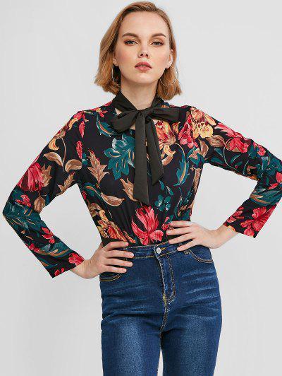Floral Print Long Sleeves Bowtie Bodysuit - Black M
