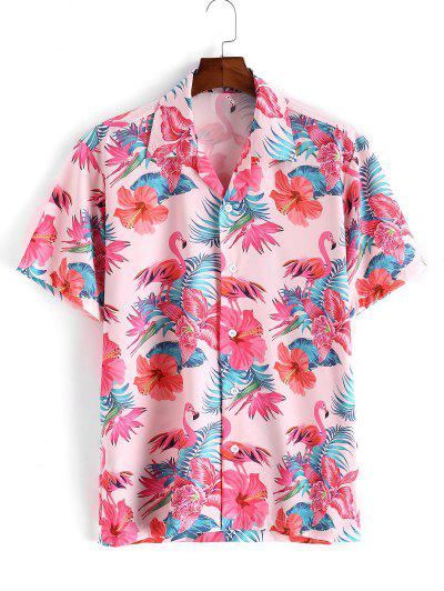 Flamingo Tropical Flower Leaf Print Short Sleeve Vacation Shirt - Pink L