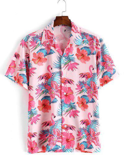 Рубашка С короткими рукавами С тропическим принтом листа и цветка и фламинго - розовый M