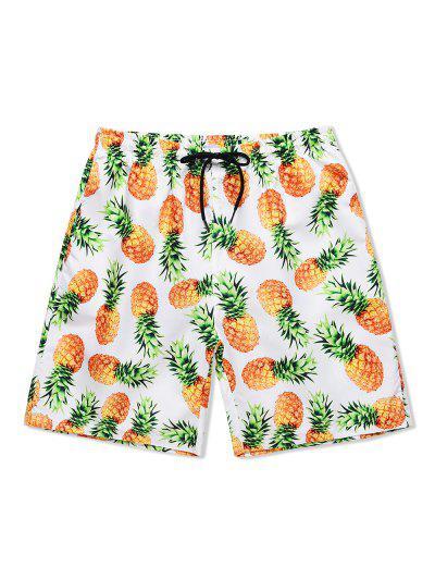 Pineapple Print Drawstring Causal Shorts - White 2xl