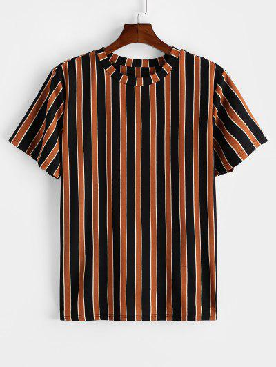ZAFUL Colorblock Striped Print Short Sleeve T-shirt - Tiger Orange M