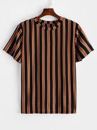 ZAFUL Colorblock Striped Print Short Sleeve T-shirt - Tiger Orange Xl