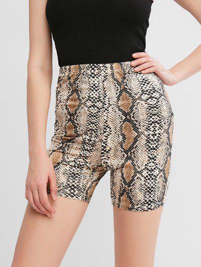 ZAFUL High Waisted Snakeskin Print Biker Shorts - Multi-a L