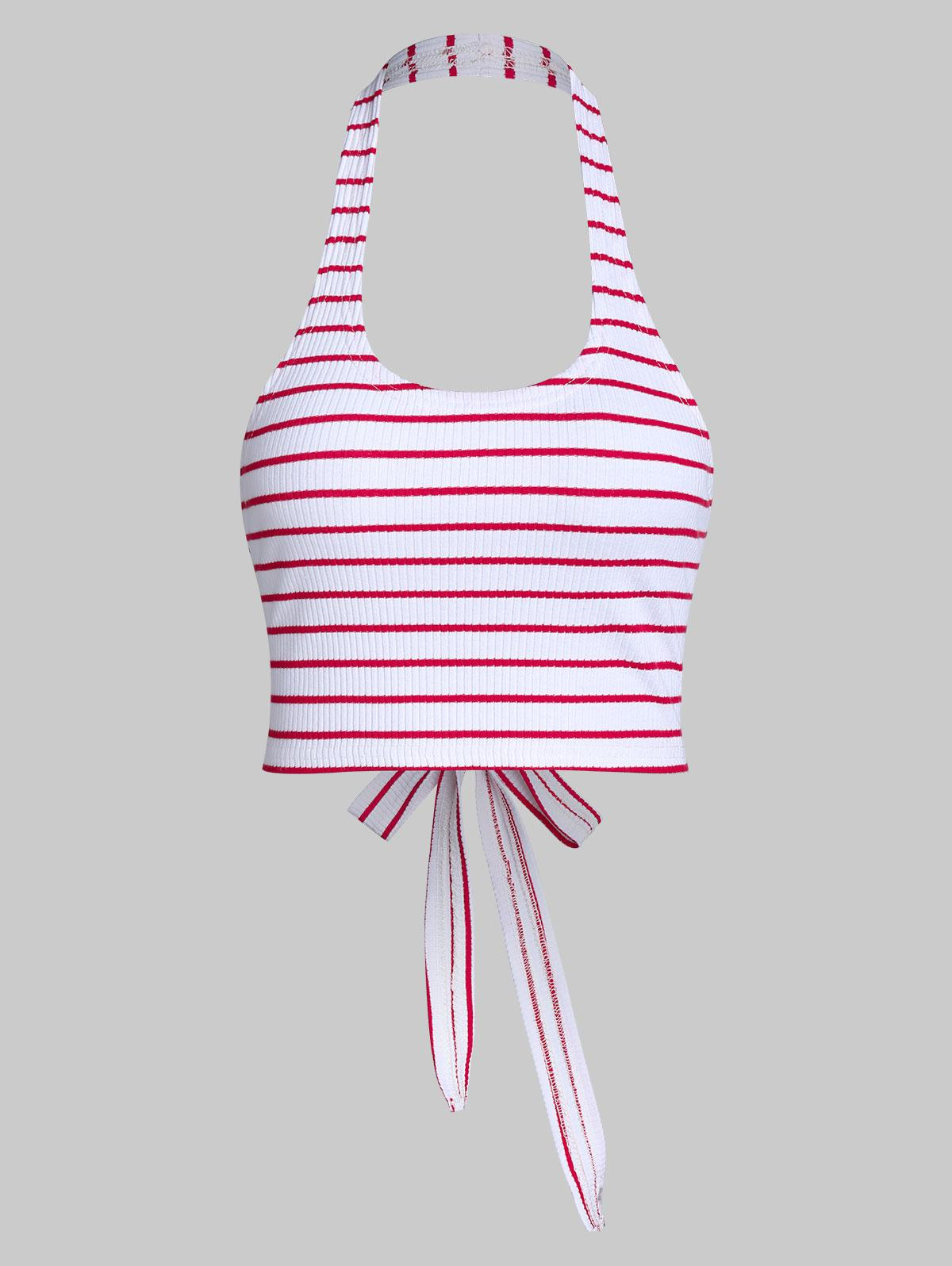 ZAFUL Halter Stripe Backless Knotted Crop Top