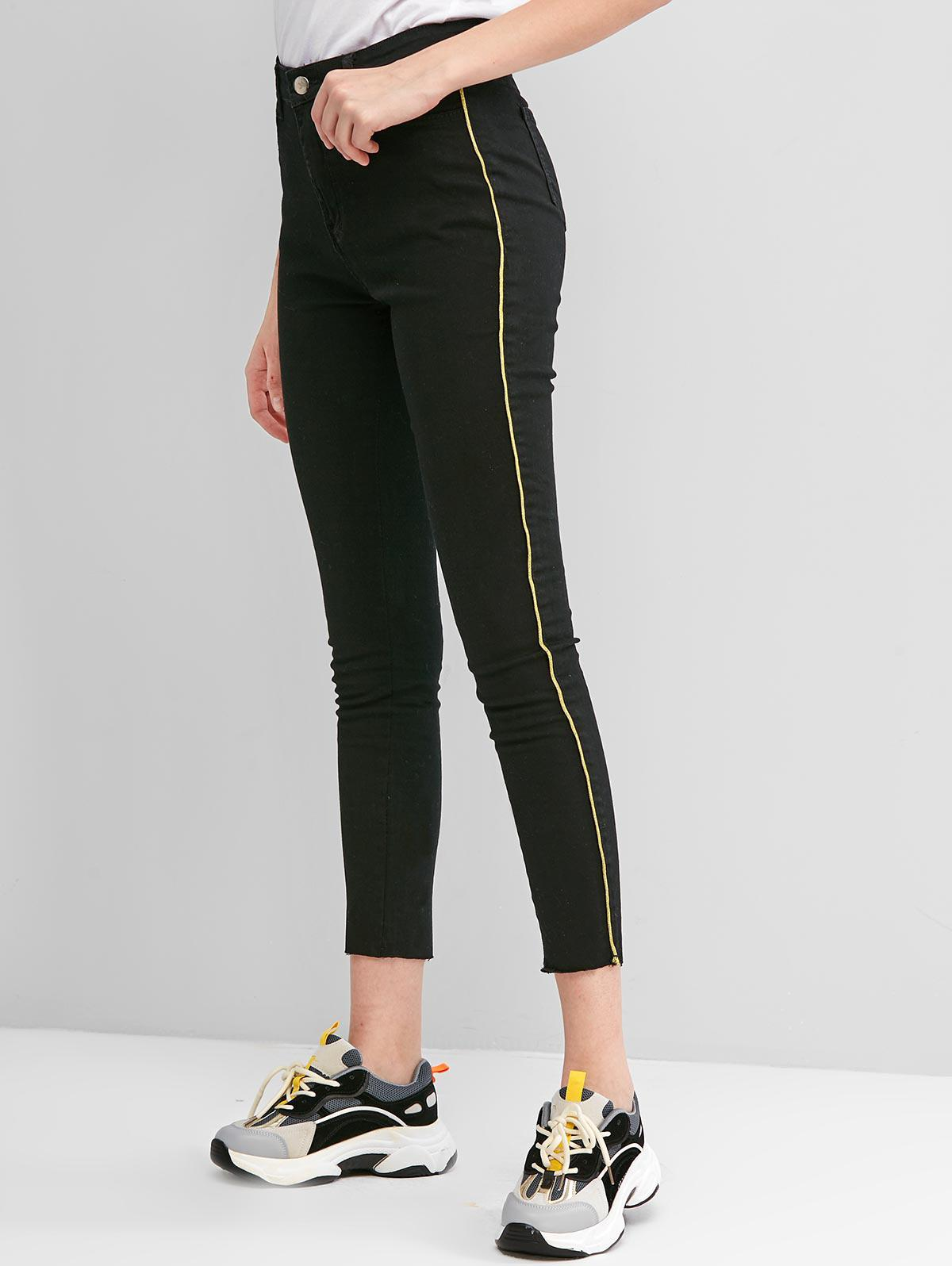 High Waisted Glittery Piping Skinny Jeans