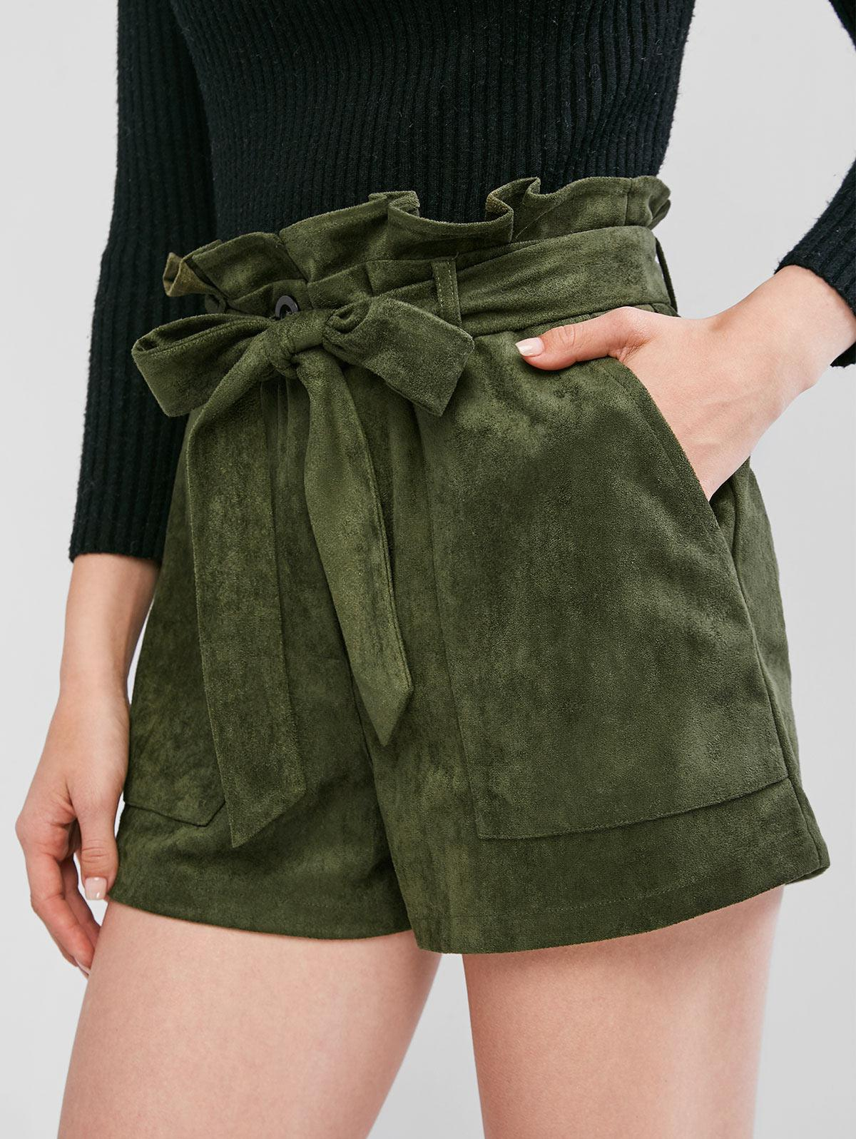 ZAFUL Belted Faux Suede Paperbag Shorts