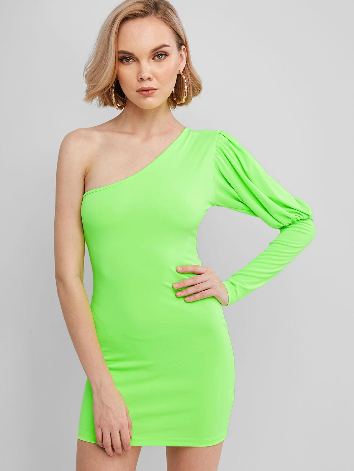 One Shoulder Neon Bodycon Dress