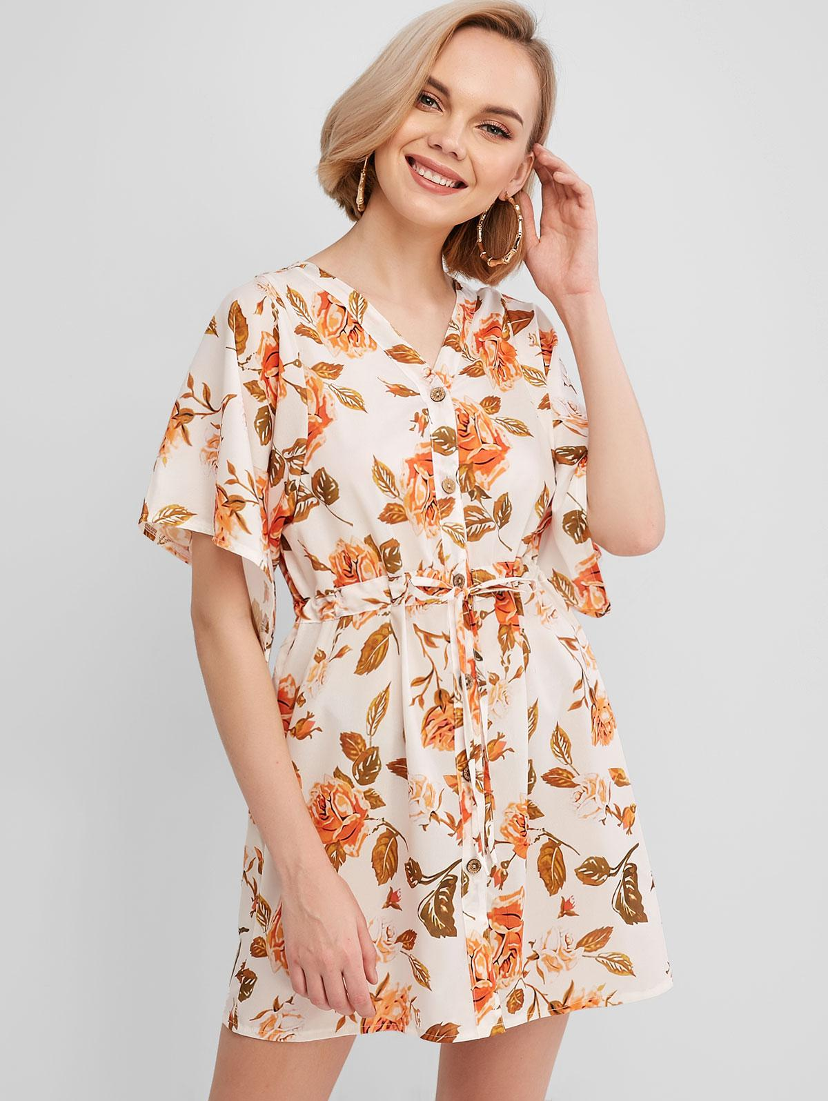 Drawstring Waist Floral Button Up Mini Dress