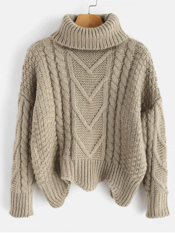 new Chunky Knit Turtleneck Sweater - LIGHT KHAKI ONE SIZE