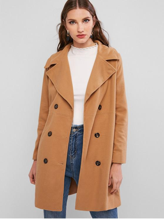 outfits Longline Pocket Peacoat - CAMEL BROWN L