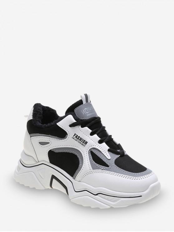 Colorblock رسالة الرباط حتى أحذية رياضية - أبيض الاتحاد الأوروبي 37