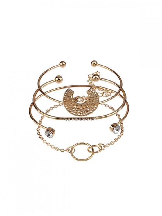 trendy 4Pcs Hollow Out Open Bracelet Set - GOLD
