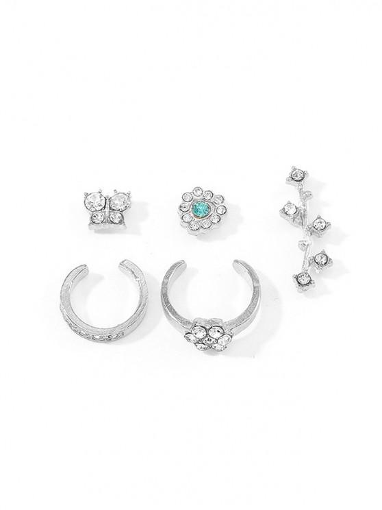 5pcs Conjunto de Aretes de Diamantes de Imitación de Flores de Mariposa - Plata