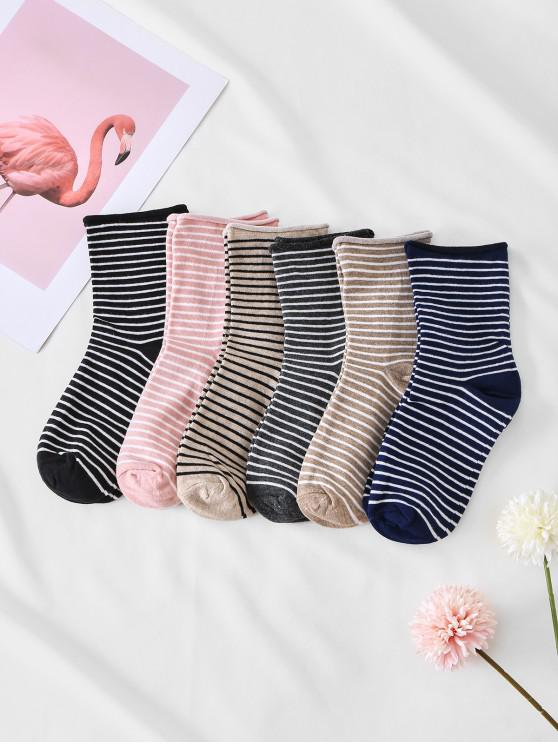 outfits 7 Pairs Striped Print Sock Sets - MULTI-A