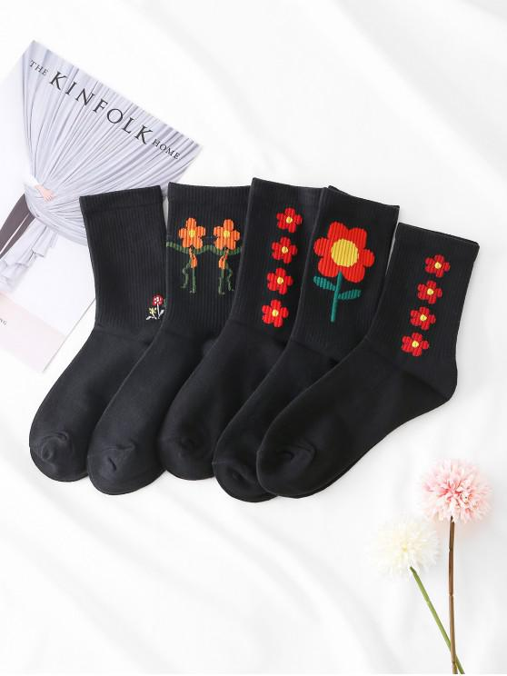 sale 5Pairs Cartoon Flower Print Socks Set - BLACK