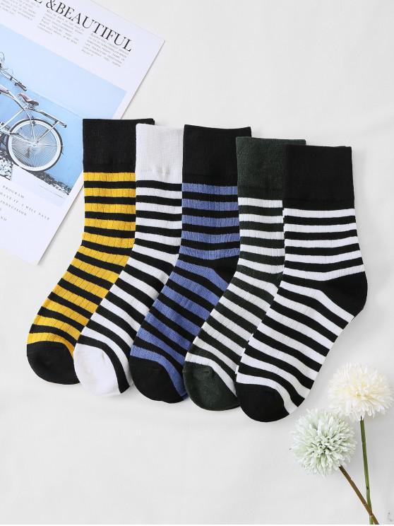 new 5Pairs Striped Print Sports Socks Set - MULTI-A