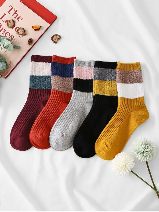online 5Pairs Colorblock Striped Socks Set - MULTI-A