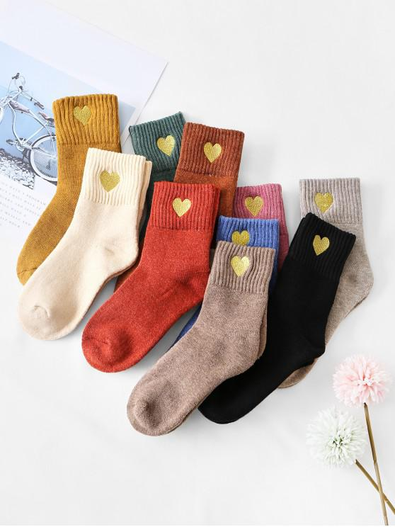 buy 10Pairs Heart Quarter Length Socks Set - MULTI-A