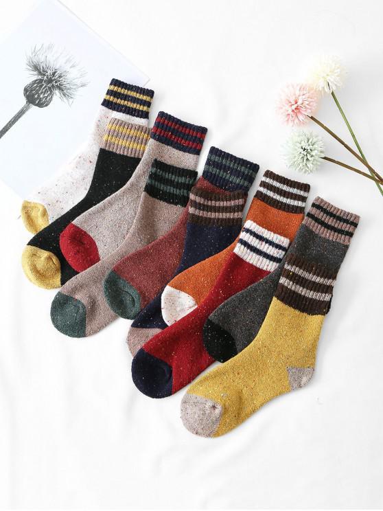 hot 10 Pairs Stripe Confetti Print Socks Set - MULTI-A