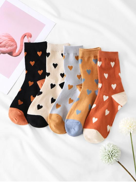 shop 5 Pairs Heart Print Colorblock Socks Set - MULTI-A