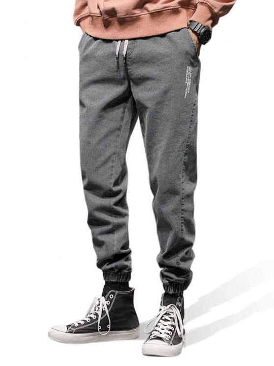 online Letter Pattern Elastic Waist Jogger Jeans - GRAY M
