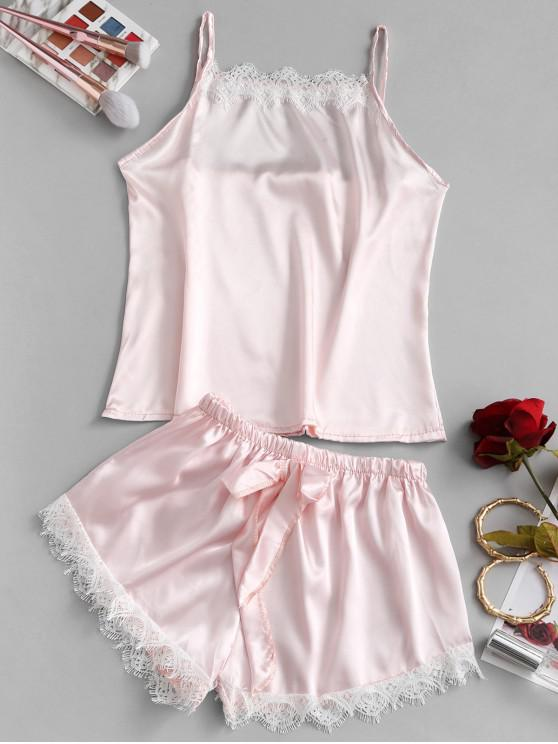 womens Lace Trim Bowknot Pajama Set - PINK L