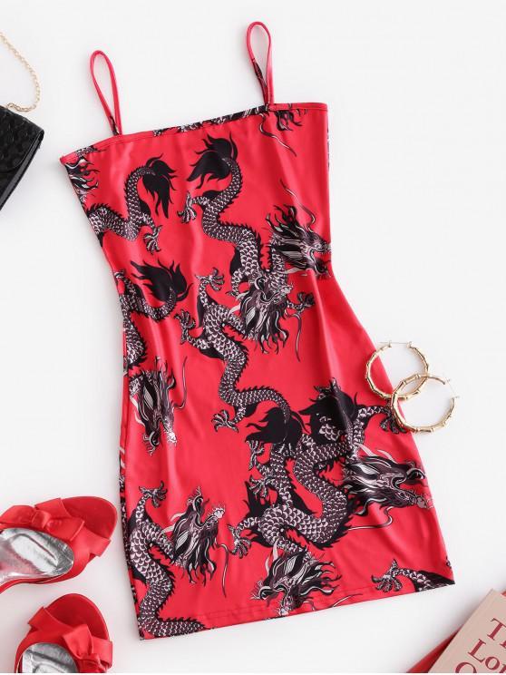 Mini Vestido de Tirantes Finos con Estampado de Dragón - Rojo M