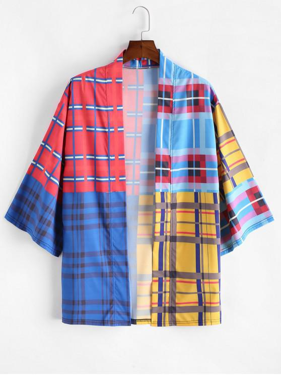 hot Colorblock Tartan Drop Shoulder Kimono Cardigan - MULTI-A XL