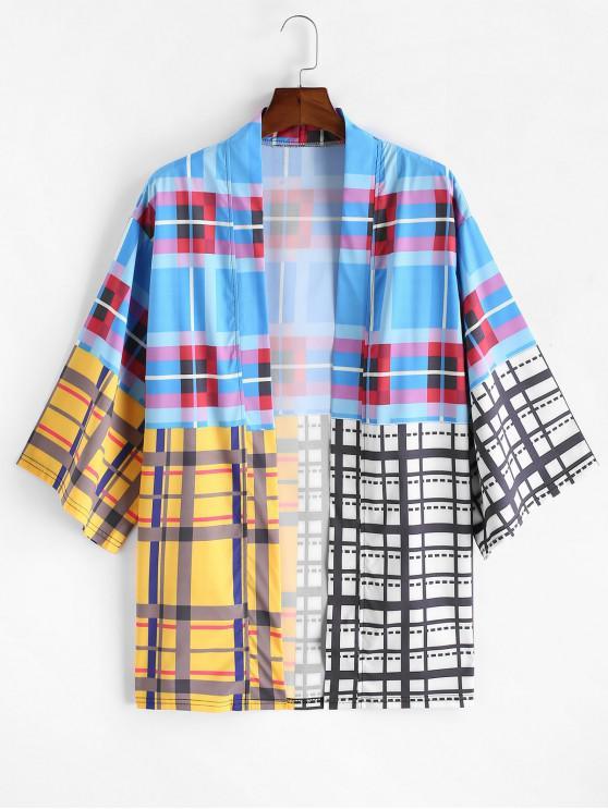 shops Colorblock Tartan Drop Shoulder Kimono Cardigan - MULTI-B 3XL