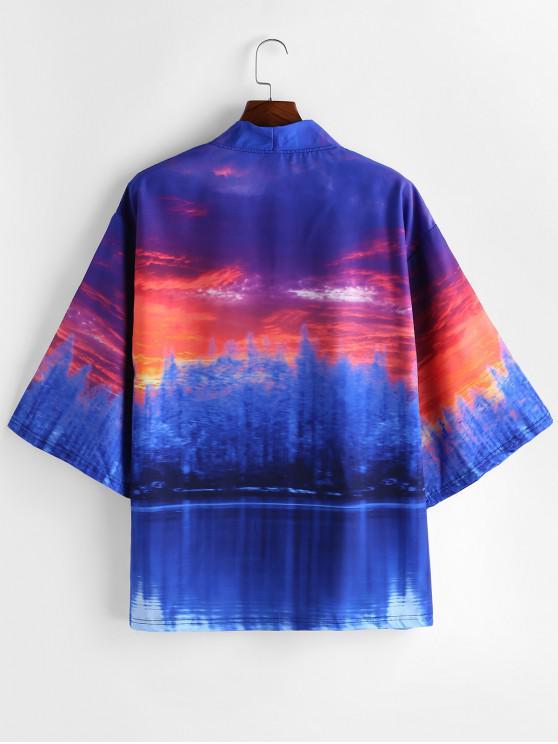 Forest Landscape Print anteriore aperto Kimono Cardigan - Blu Cobalto XL