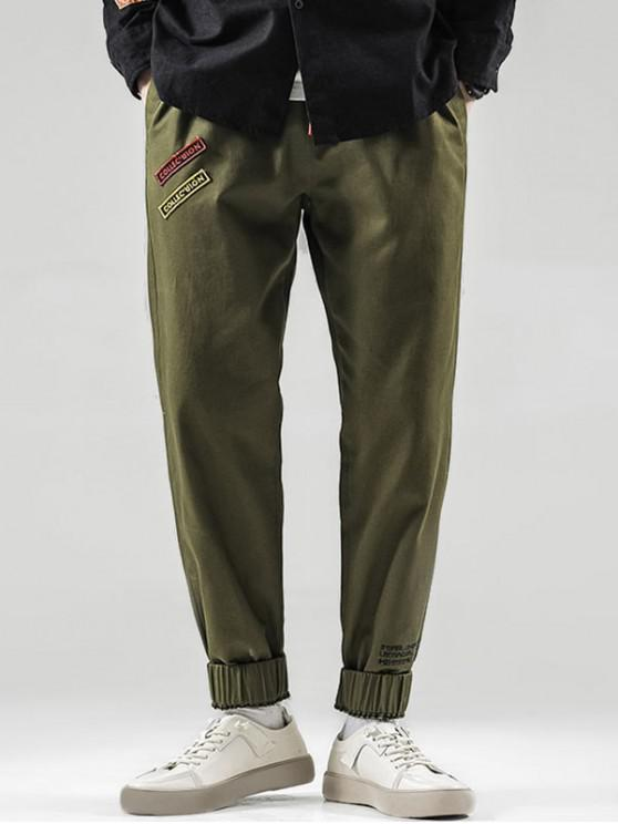 latest Letter Pattern Beam Feet Pants - ARMY GREEN S