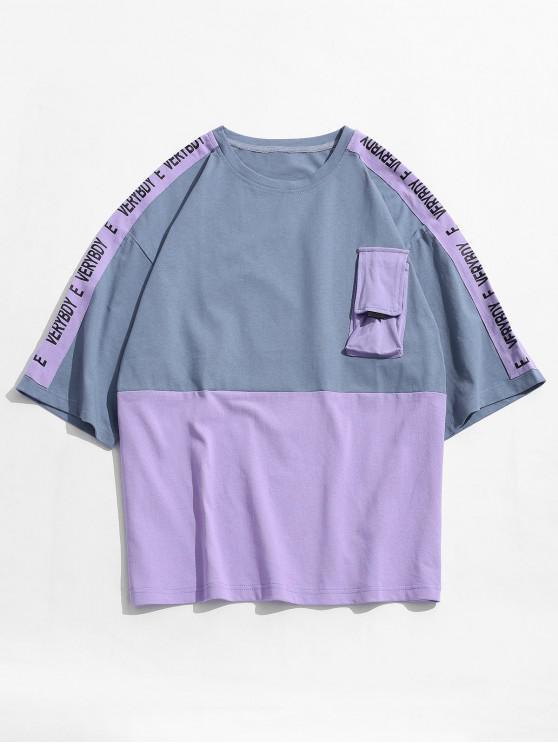 affordable Casual Letter Pattern Color Spliced T-shirt - MAUVE M