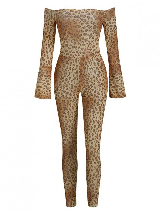 sale Animal Print Off Shoulder Mesh Skinny Jumpsuit - MULTI-B M