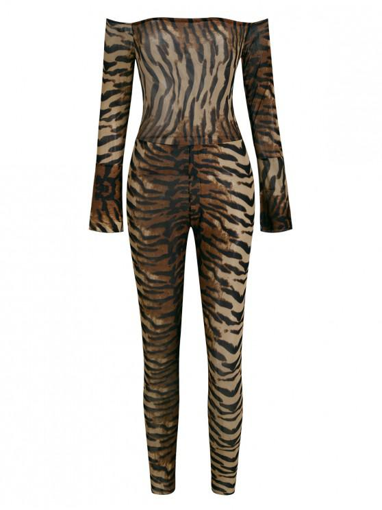 trendy Animal Print Off Shoulder Mesh Skinny Jumpsuit - MULTI-A S