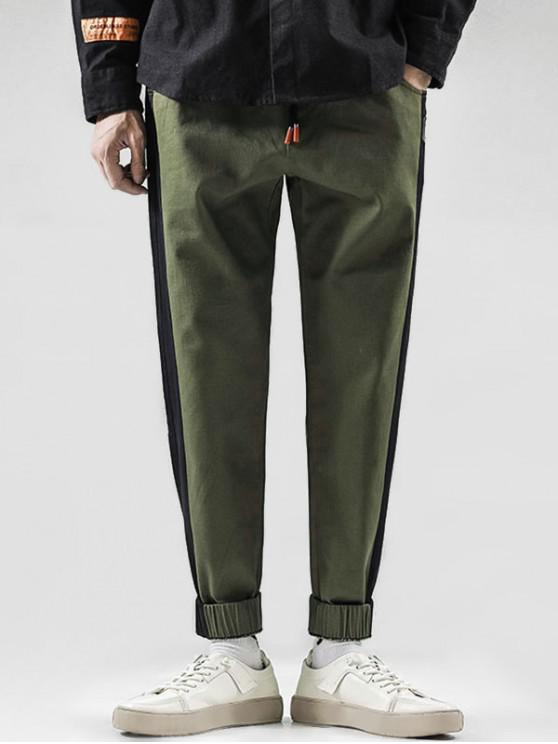 ladies Color Spliced Embroidered Design Jogger Pants - ARMY GREEN L