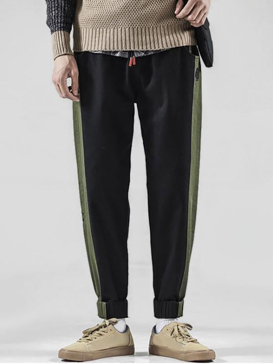 hot Color Spliced Embroidered Design Jogger Pants - BLACK XL