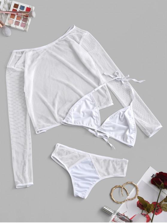 ladies Mesh Halter Top and Bra Set - WHITE XL