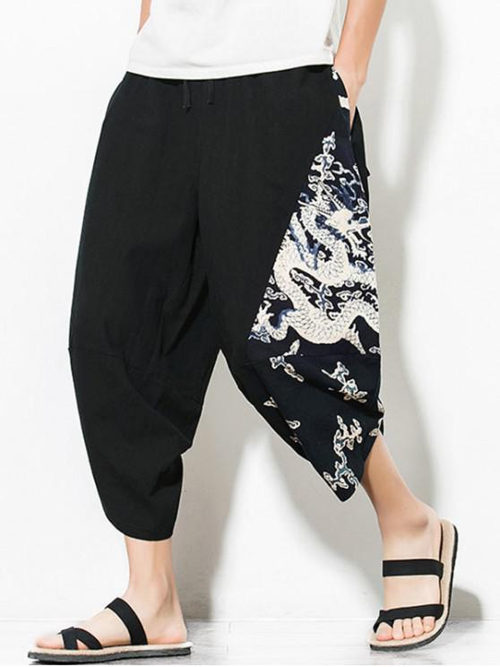 womens Dragon Printed Casual Elastic Waist Pants - BLACK 4XL