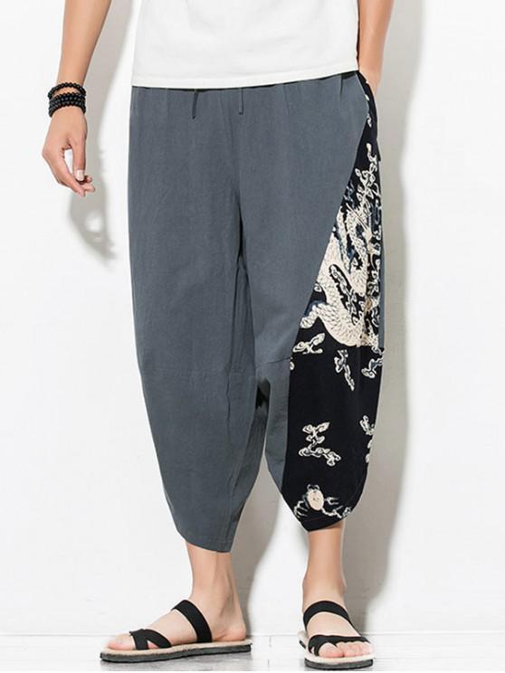 hot Dragon Printed Casual Elastic Waist Pants - GRAYISH TURQUOISE L